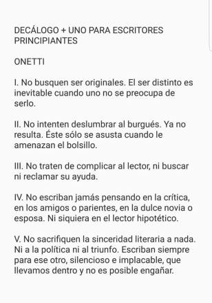 Onetti. Decálogo 1