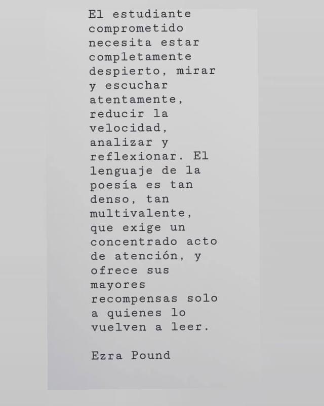 Texto fotografiado. Ezra Pound