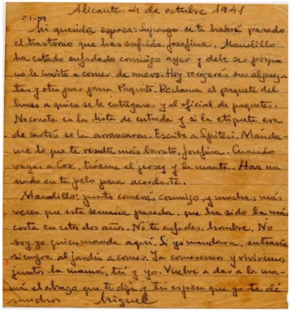 Carta de Miguel Hernandez