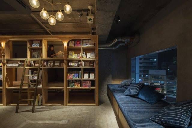 Hotel-librería, en Tokio.