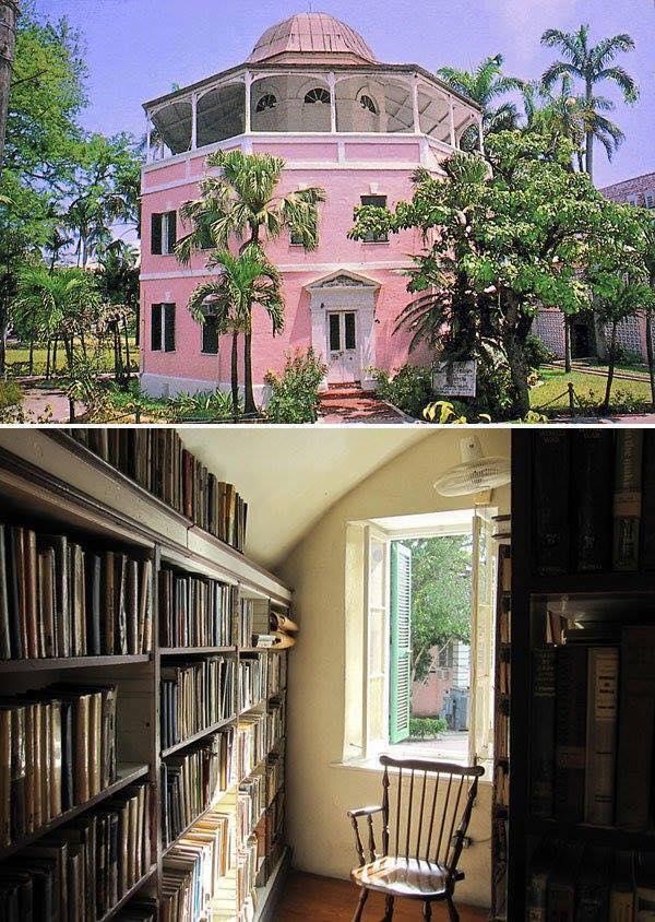 Biblioteca pública en Nassau (Bahamas). Fue una cárcel colonial y se reconvirtió en biblioteca en 1873.2
