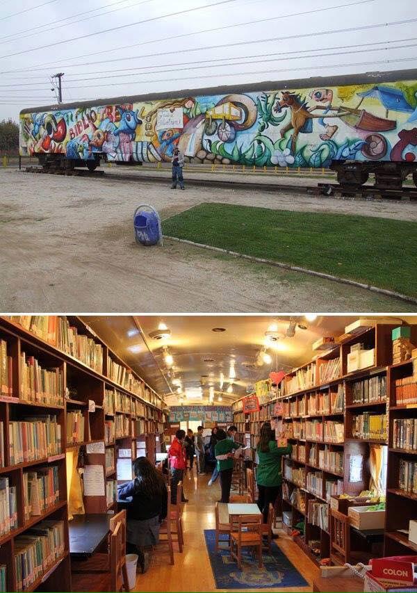 Antiguos vagones de tren reconvertidos en librerías y bibliotecas (Chile)