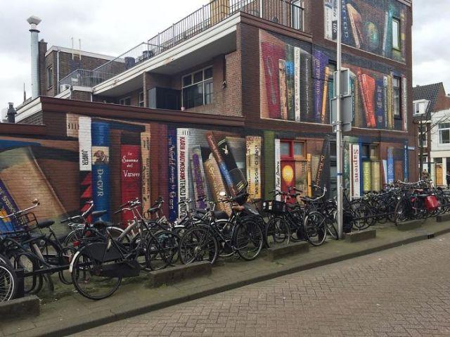 Pintura de biblioteca en Holanda